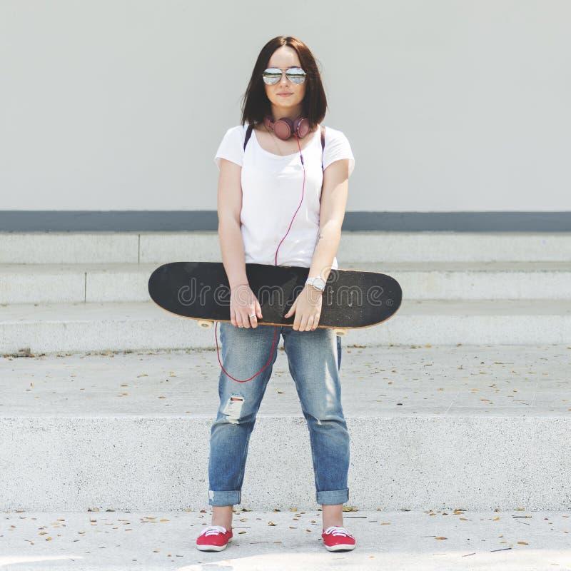 Conceito Skateboarding da apreciação fresca funky do moderno imagem de stock