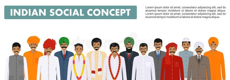 Conceito social Agrupe os povos indianos que estão junto na roupa nacional tradicional diferente no fundo branco dentro ilustração royalty free