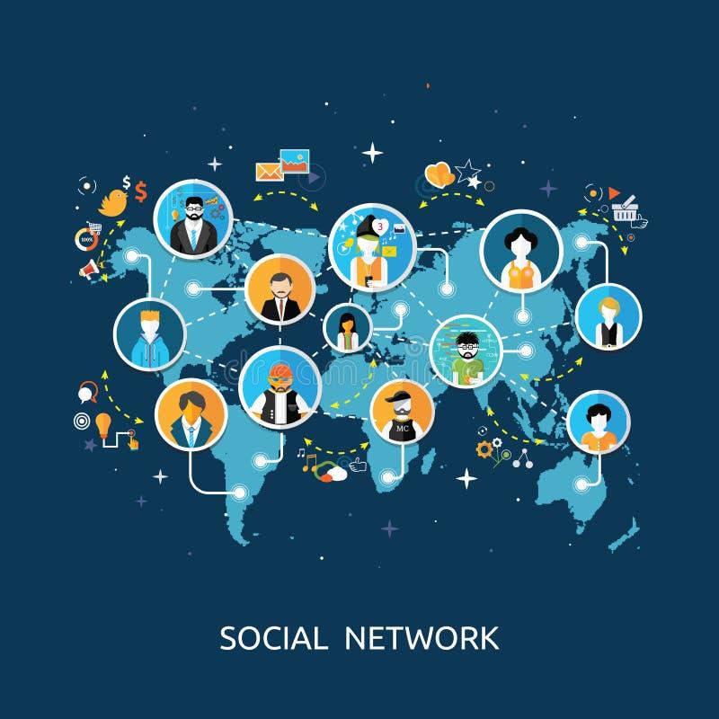Conceito social da conexão de rede dos media ilustração stock