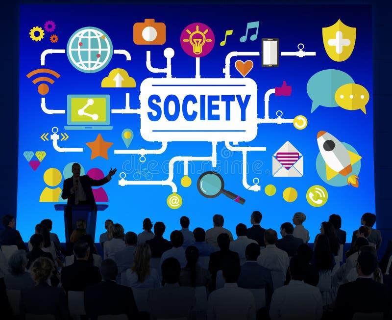 Conceito social da conexão dos trabalhos em rede dos meios sociais da sociedade ilustração do vetor