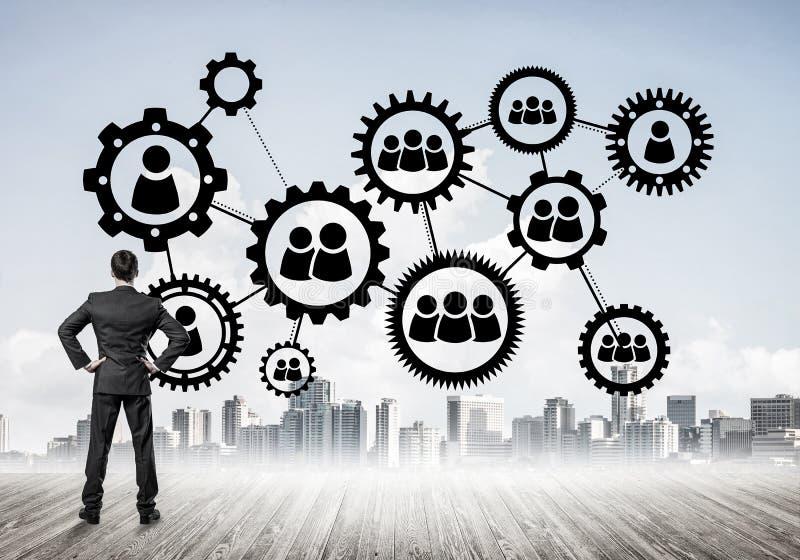 Conceito social da conexão tirado na tela como o símbolo para trabalhos de equipa imagem de stock