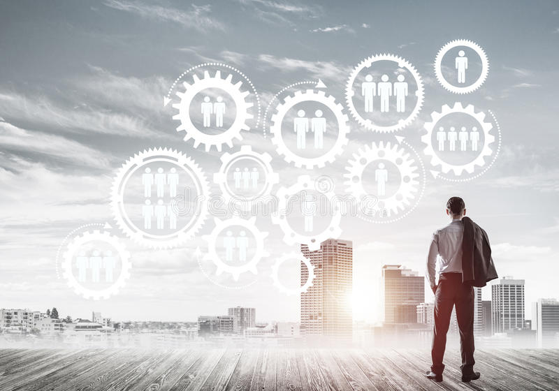 Conceito social da conexão tirado na tela como o símbolo para trabalhos de equipa imagens de stock royalty free