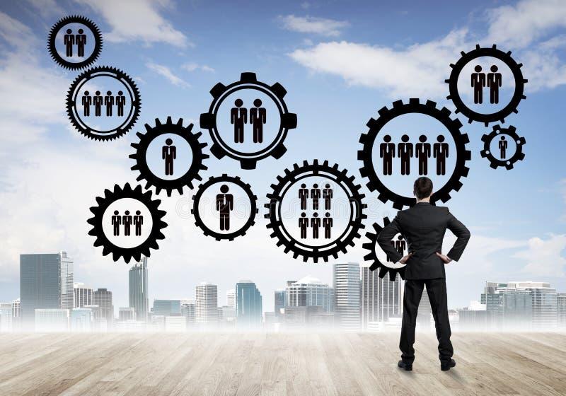 Conceito social da conexão tirado na tela como o símbolo para trabalhos de equipa e cooperação fotografia de stock royalty free