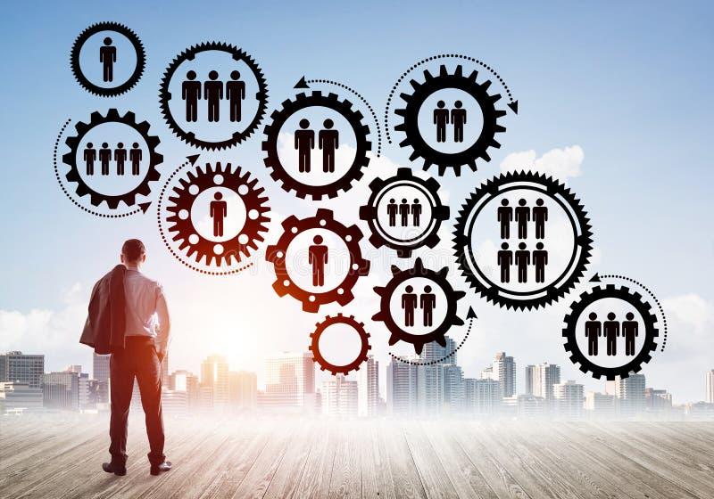 Conceito social da conexão tirado na tela como o símbolo para trabalhos de equipa e cooperação imagens de stock