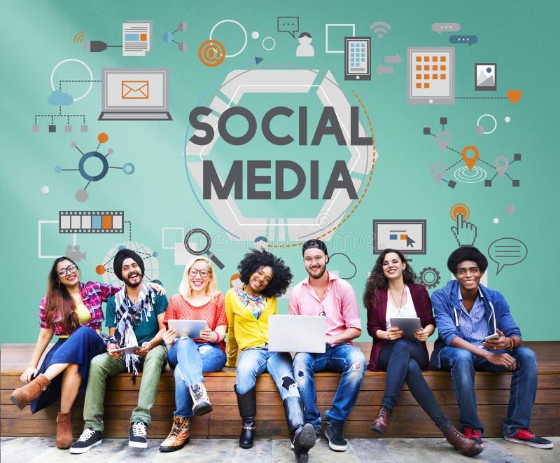 Conceito social da inovação da tecnologia dos trabalhos em rede dos meios sociais fotografia de stock