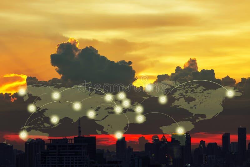 Conceito social da rede de uma comunicação digital global da conexão fotos de stock