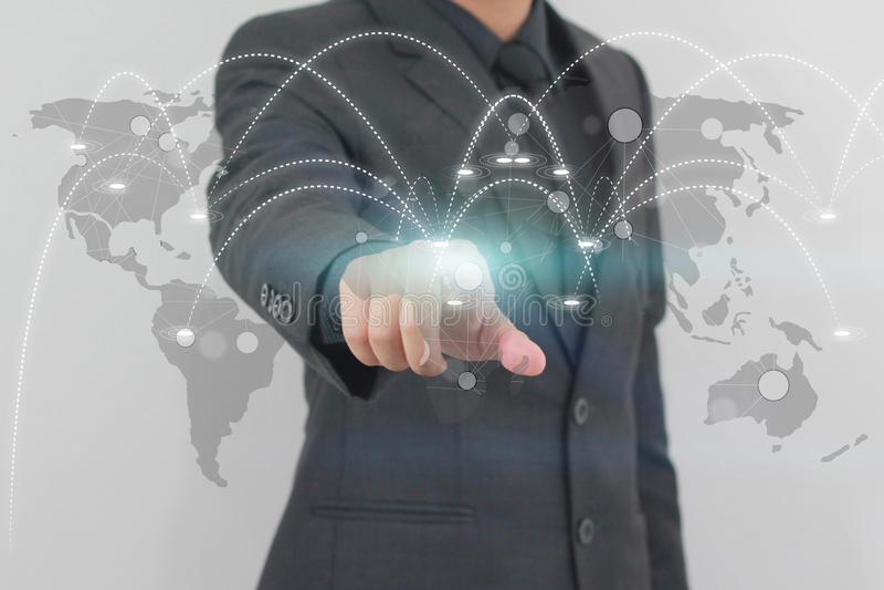 Conceito social da rede do negócio da globalização ilustração royalty free