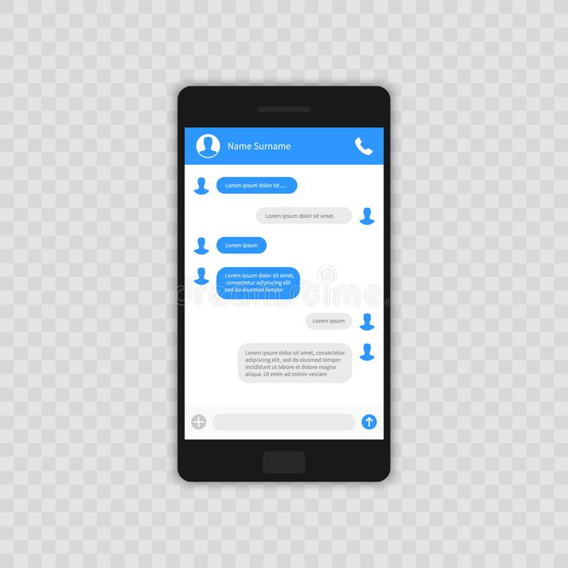 Conceito social da rede Molde em branco Indicador do mensageiro Chating e conceito da mensagem Móbil do whith do molde do app do  ilustração do vetor