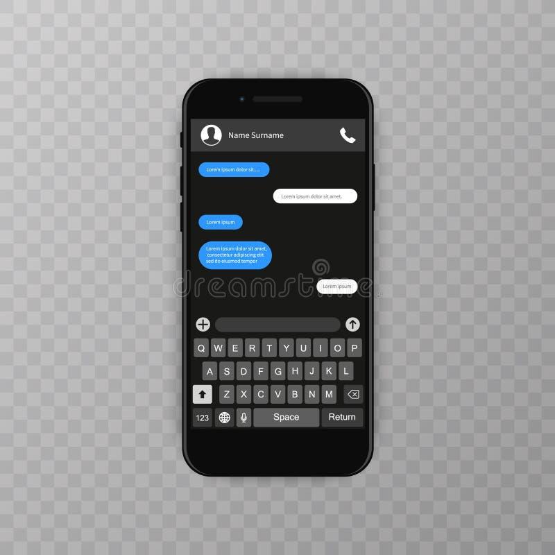 Conceito social da rede Molde em branco Indicador do mensageiro Chating e conceito da mensagem Móbil do whith do molde do app do  ilustração stock