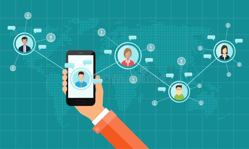 Conceito social da tecnologia da conexão de negócio ilustração do vetor