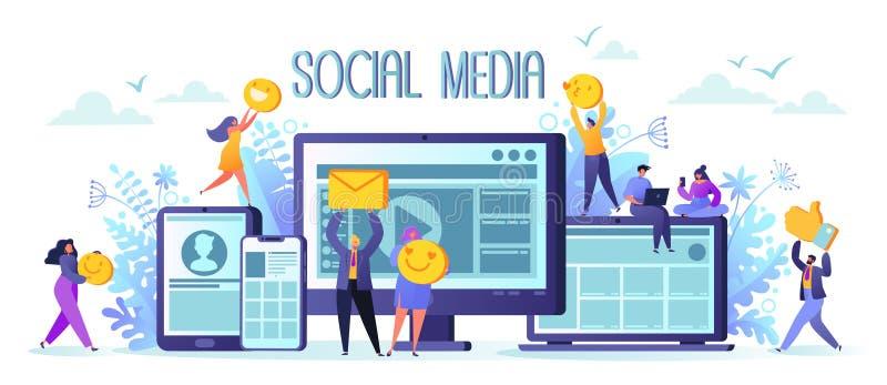 Conceito social das redes dos meios Caráteres do homem e da mulher que conversam e que publicam em blogs usando dispositivos móve ilustração do vetor