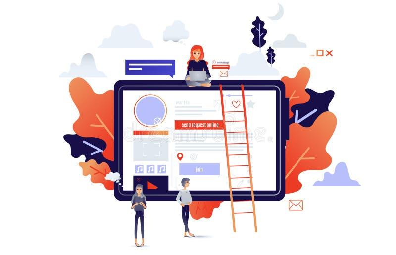 Conceito social de uma comunicação com os povos dos desenhos animados que conectam com o Internet e os dispositivos ilustração do vetor