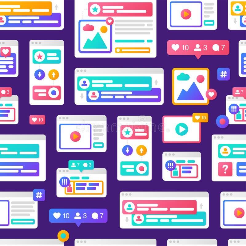 Conceito social de uma comunicação dos meios do teste padrão da ilustração do vetor com as janelas do browser coloridas da cruz-p ilustração stock