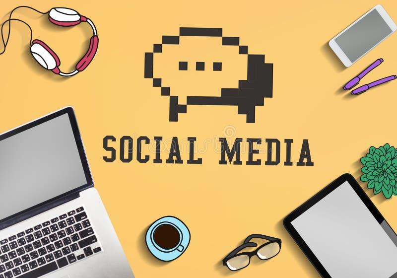 Conceito social do ícone do bate-papo do blogue dos meios ilustração stock