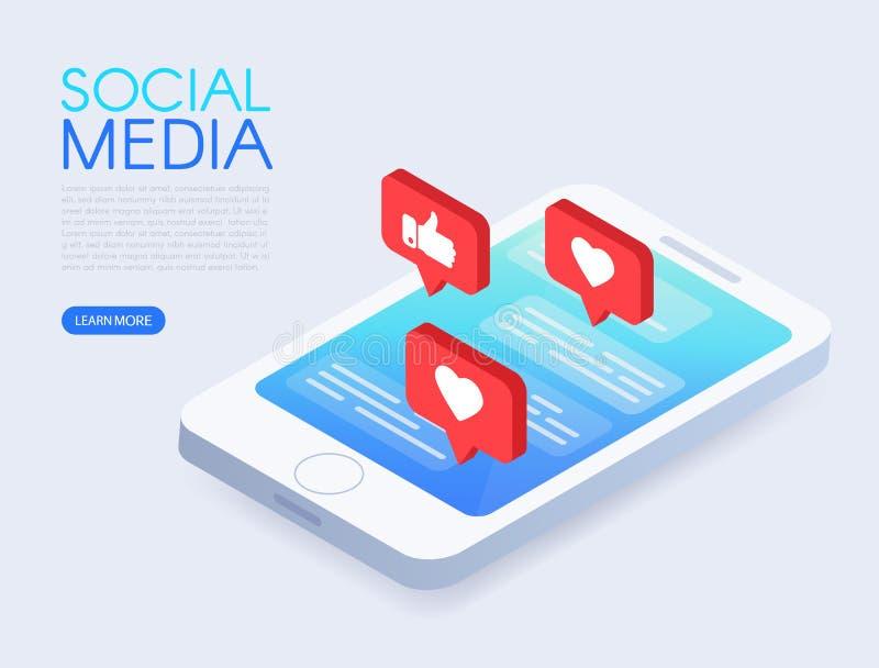 Conceito social do bate-papo com telefone isométrico e gostos Telefone isométrico com notificações do impulso Projeto social dos  ilustração royalty free