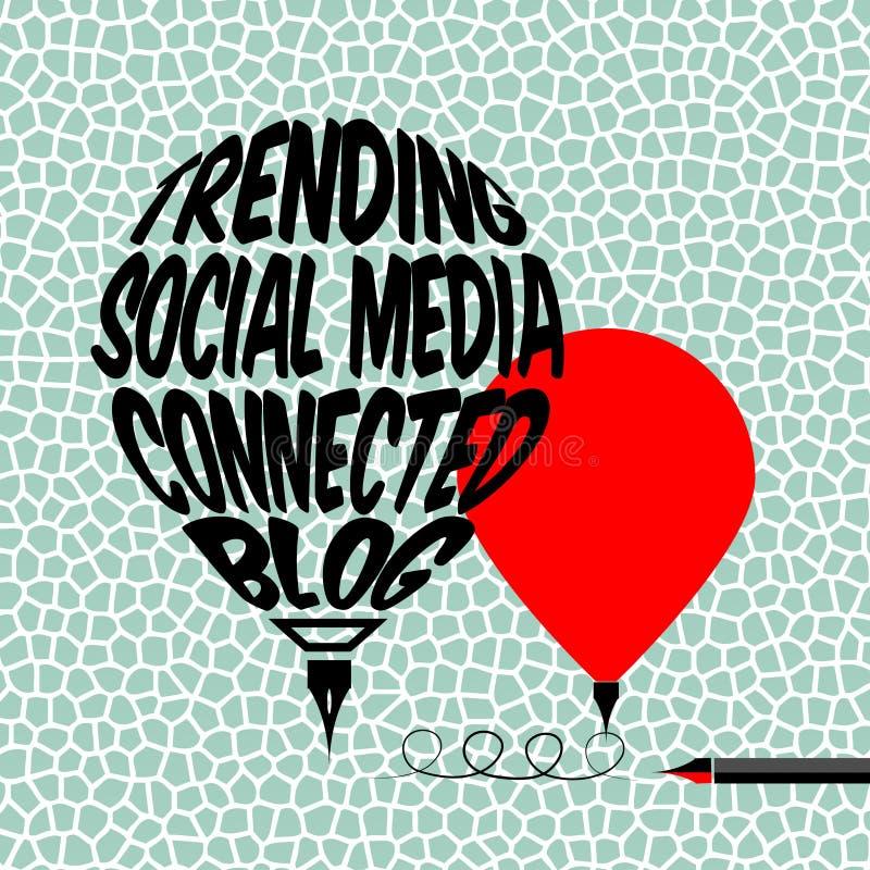 Conceito social do blogue dos meios ilustração do vetor