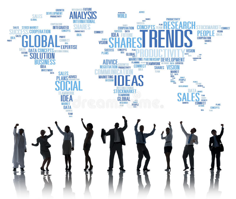 Conceito social do estilo das ideias do mercado do mapa do mundo das tendências ilustração do vetor