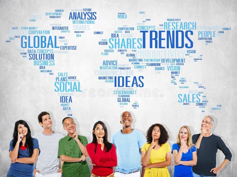Conceito social do estilo das ideias do mercado do mapa do mundo das tendências imagem de stock