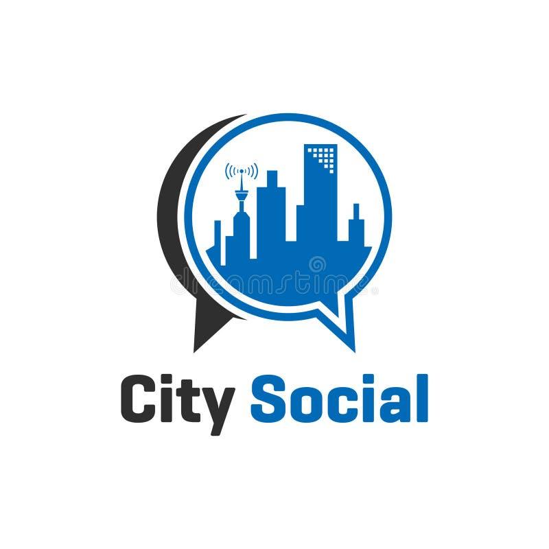 Conceito social do logotipo da cidade ilustração royalty free