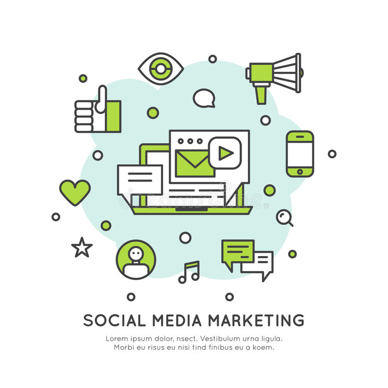 Conceito social do mercado dos meios da rede ilustração stock
