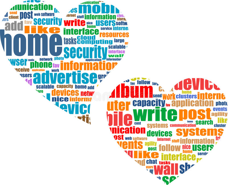Conceito social do negócio dos media no coração do amor ilustração do vetor