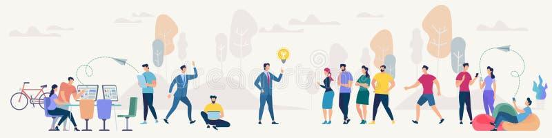 Conceito social do vetor da rede e dos trabalhos de equipa ilustração royalty free