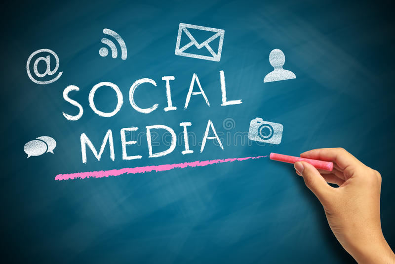 Conceito social dos media fotos de stock