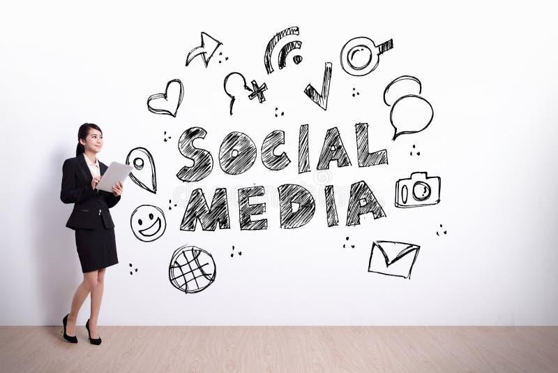 Conceito social dos media foto de stock