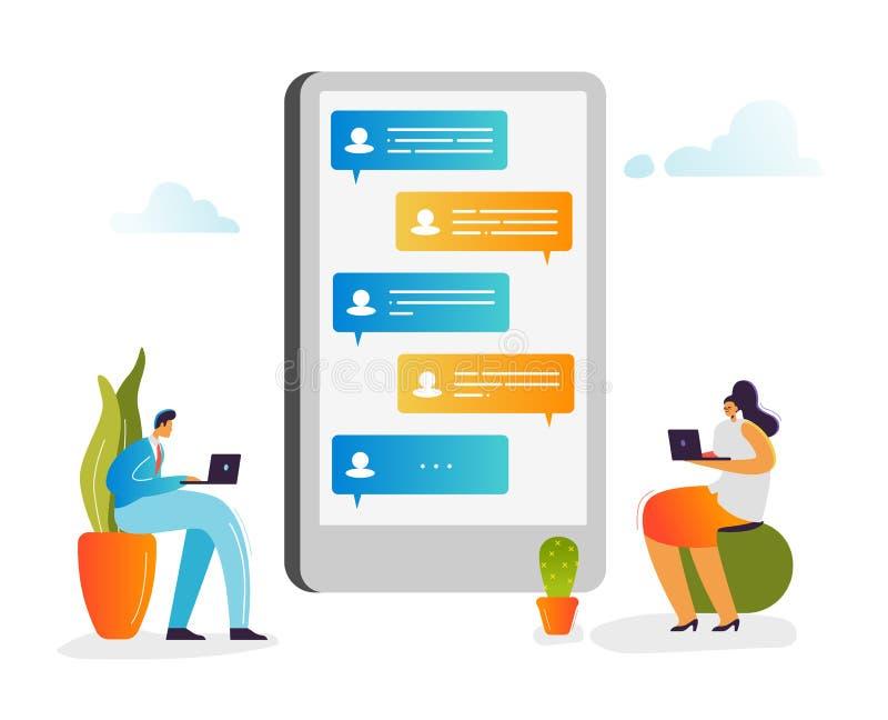 Conceito social dos media Caráteres que conversam em redes sociais usando o portátil e o Smartphone Homem e mulher que comunicam- ilustração do vetor