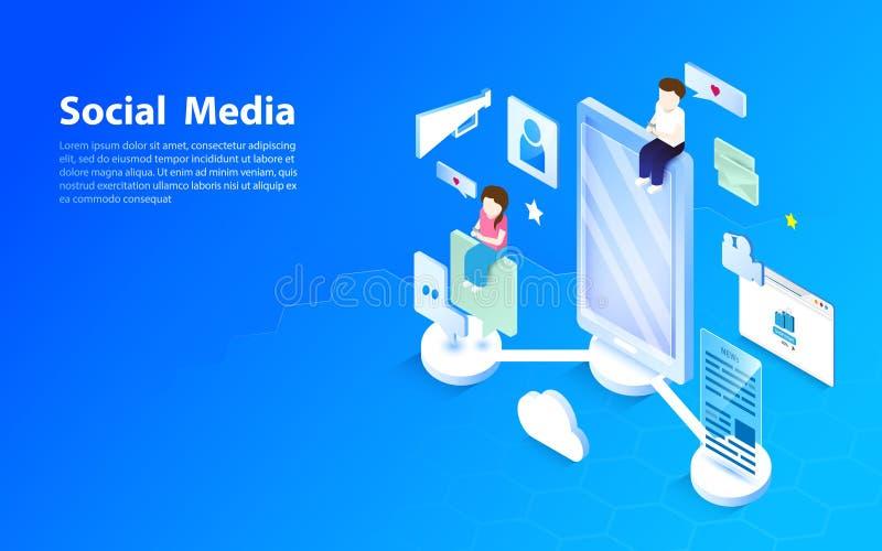 Conceito social dos media Projeto liso e isométrico do estilo ilustração do vetor