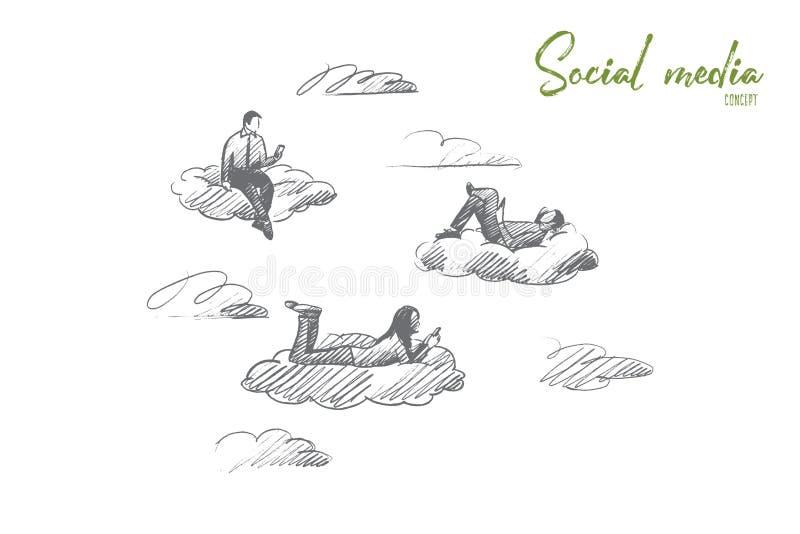 Conceito social dos media Vetor isolado tirado mão ilustração stock