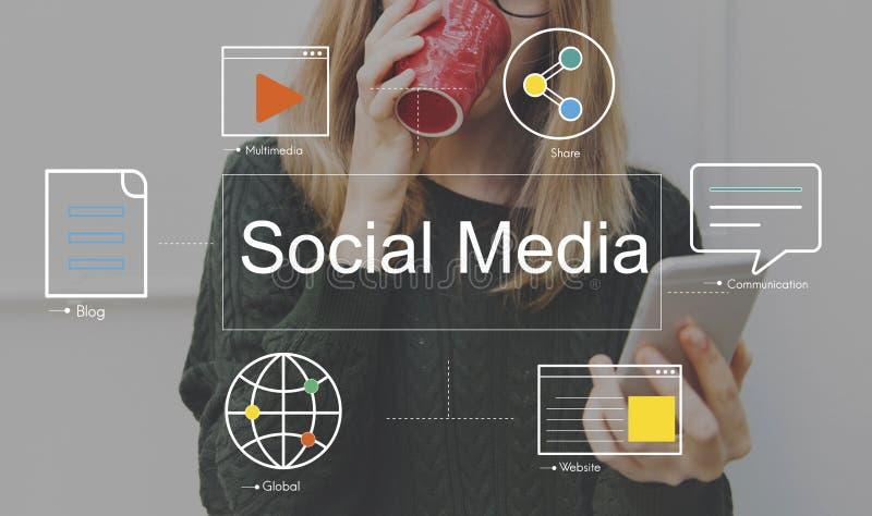 Conceito social dos meios do blogue do bate-papo dos meios fotos de stock royalty free