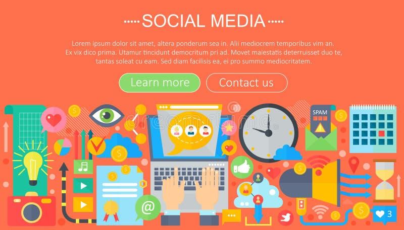 Conceito social dos meios do projeto liso moderno Encabeçamento social do Web site dos ícones dos meios, cartaz do projeto do app ilustração royalty free