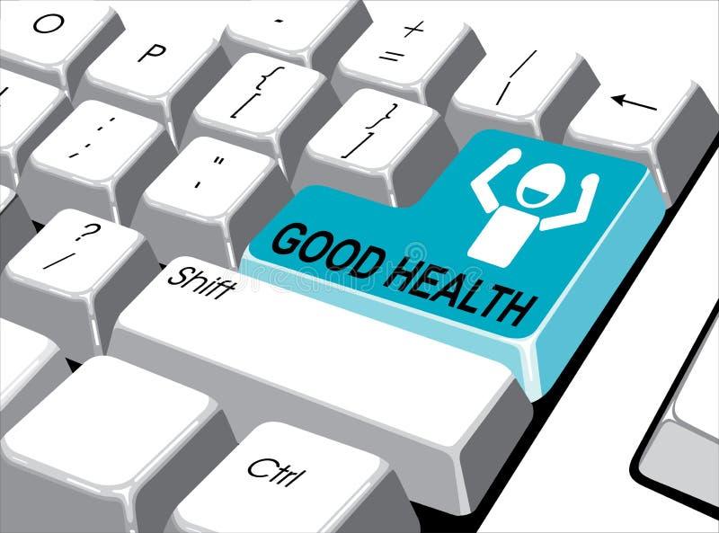 Conceito social dos meios: Entre no botão com boa saúde no computador ilustração do vetor