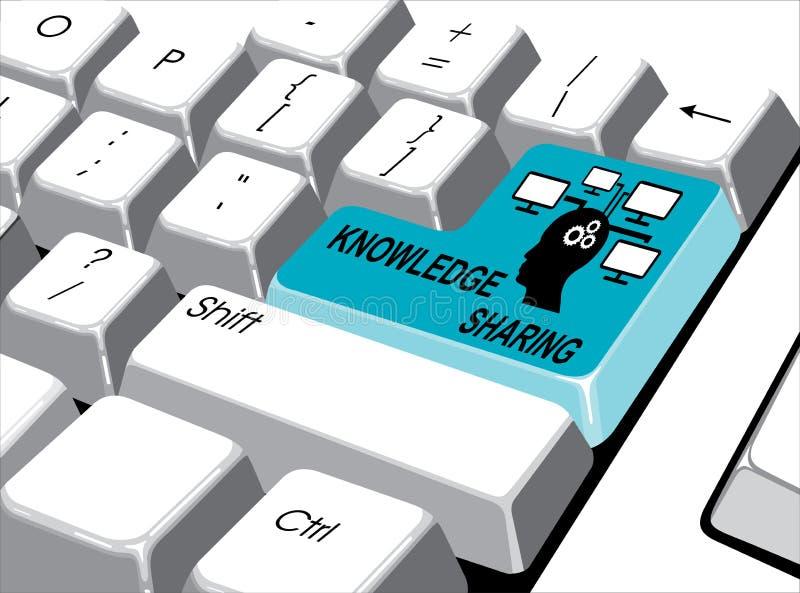 Conceito social dos meios: Entre no botão com o conhecimento que compartilha em COM ilustração stock