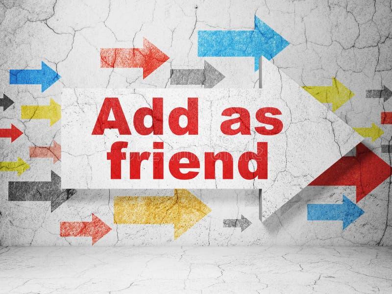 Conceito social dos meios: a seta com adiciona como o amigo no fundo da parede do grunge imagens de stock royalty free