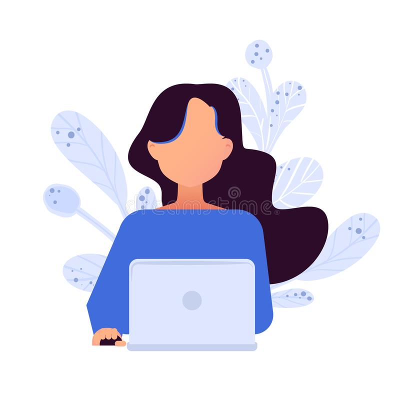 Conceito social dos trabalhos em rede Avatars com dispositivo ilustração royalty free