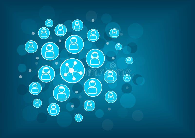 Conceito social dos trabalhos em rede como a ilustração Fundo borrado com ícones das pessoas conectadas ilustração do vetor