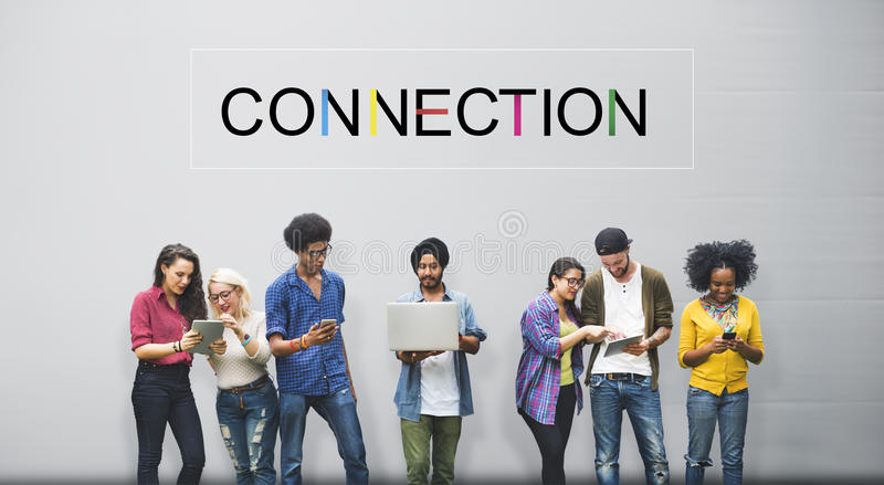 Conceito social dos trabalhos em rede dos meios sociais da conexão imagens de stock