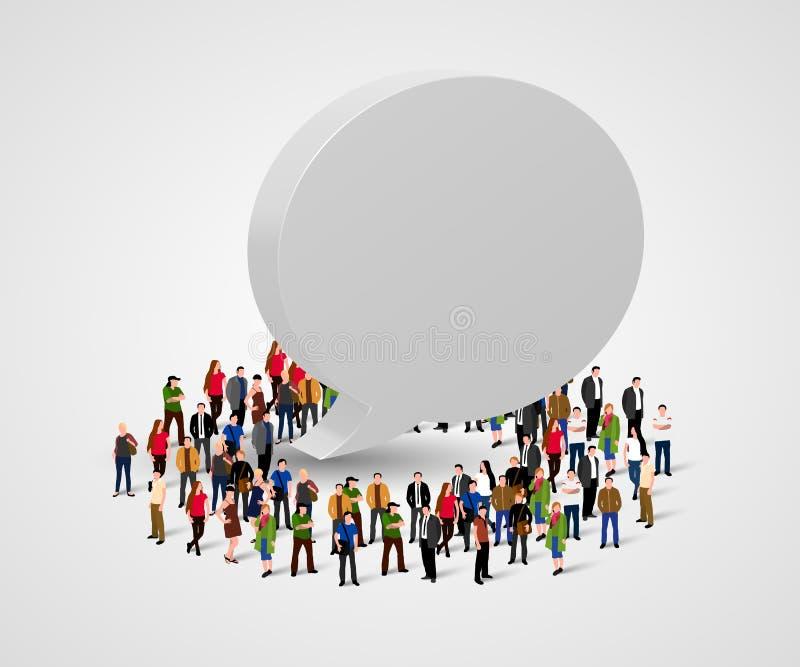 Conceito social dos trabalhos em rede e da comunicação do negócio Bolha dos povos e do bate-papo ilustração royalty free