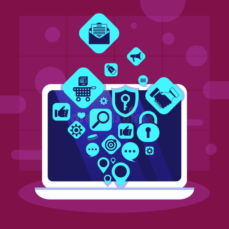 Conceito social dos trabalhos em rede dos meios dos ícones das aplicações da rede do portátil para o trabalho e a animação do pro ilustração stock
