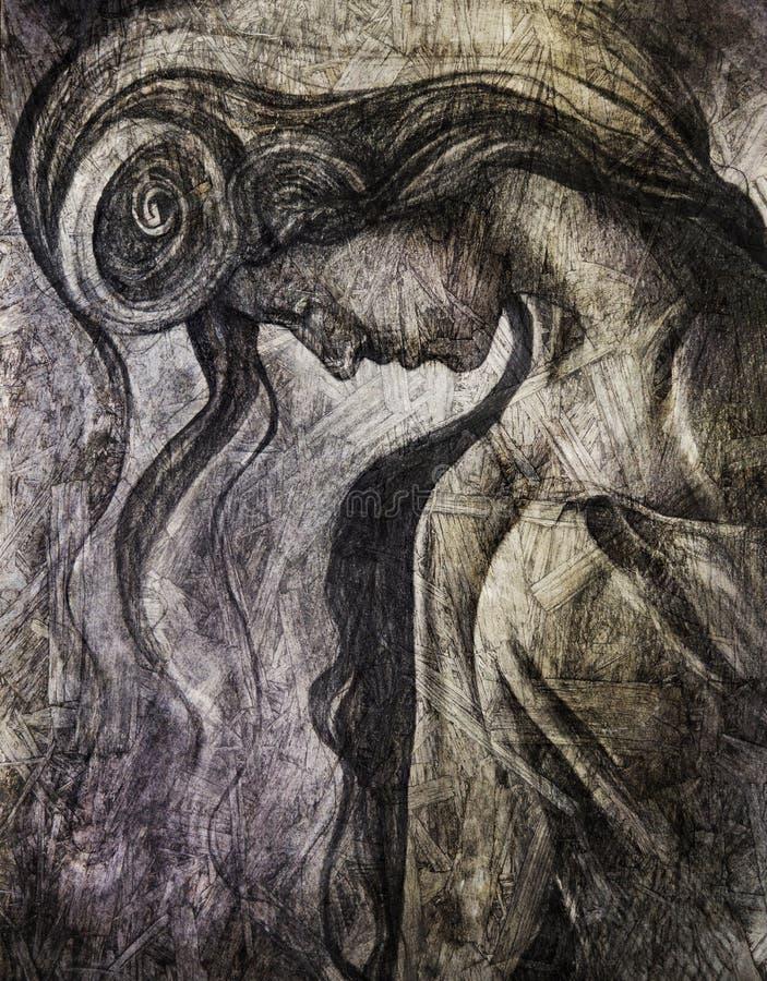 Conceito solene do retrato da mulher ilustração do vetor