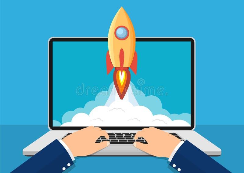Conceito startup bem sucedido do negócio ilustração stock