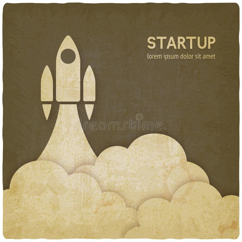 Conceito Startup com fundo do vintage do foguete ilustração do vetor