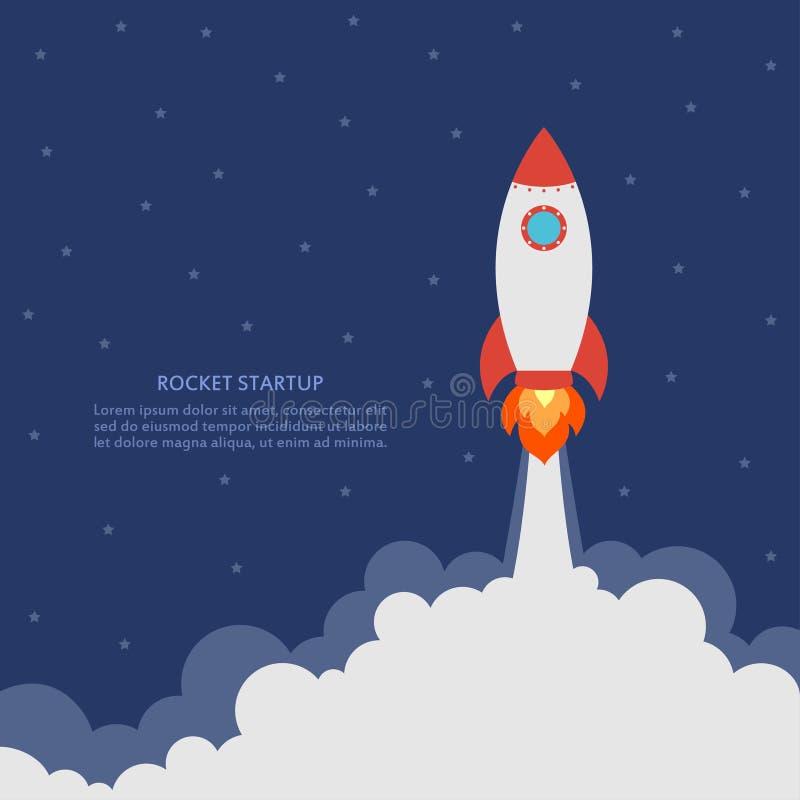 Conceito Startup com lançamento do foguete Bandeira do negócio com nave espacial Desenvolvimento e projeto avançado Vetor ilustração stock