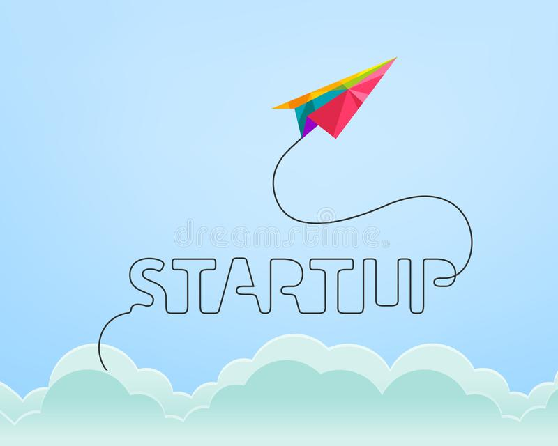 Conceito Startup com o plano de papel colorido que aumenta através do céu ilustração stock