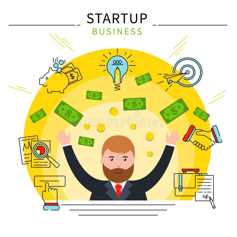 Conceito Startup da área de negócio ilustração stock