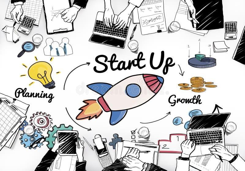 Conceito Startup das ideias do plano da oportunidade do lançamento ilustração royalty free