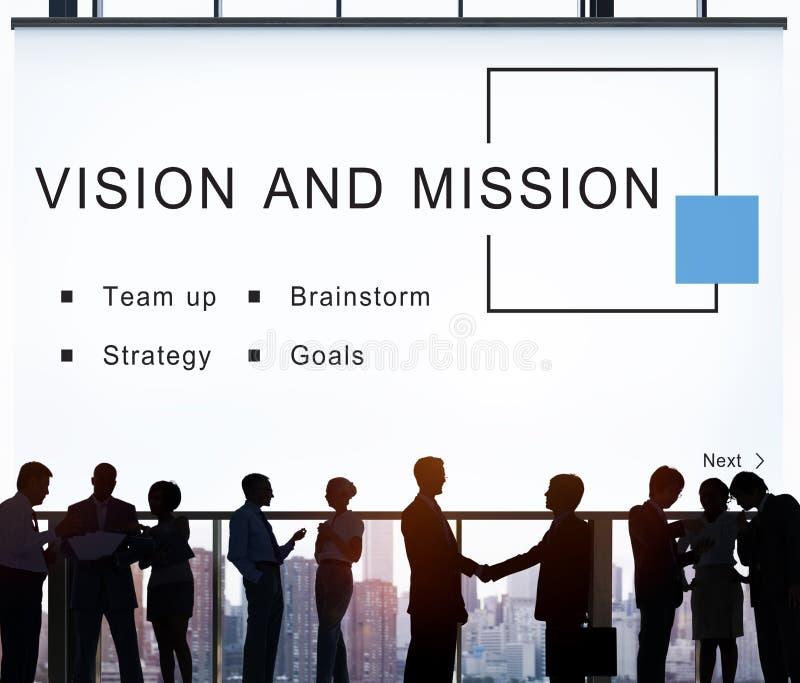 Conceito Startup dos objetivos da estratégia da visão e da missão imagem de stock royalty free