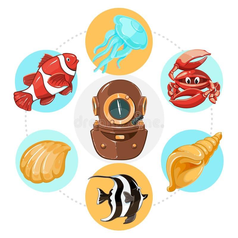 Conceito subaquático da vida dos desenhos animados ilustração stock